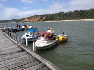 All the Alpha course boats went and hid at Black Rock whilst the start boat stayed out monitoring the conditions