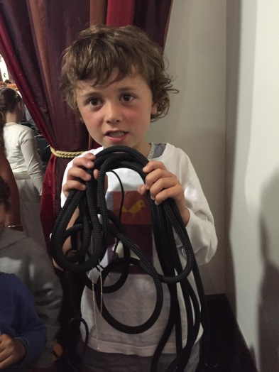 Five year old Aldo Groves, winner of the Heads and Tails with his new Liros mainsheet kindly donated by Skiff Ropes Sydney.