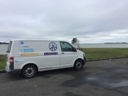 Van at Goolwa with the Mighty Murray mouth in the distance