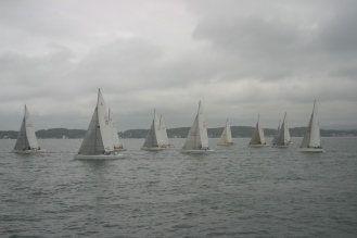 Animus with the lighter coloured headsail to windward on Lake Macquarie