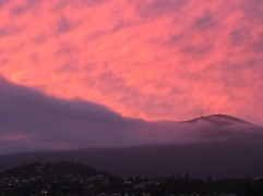 Mt Wellington sunset over Hobart